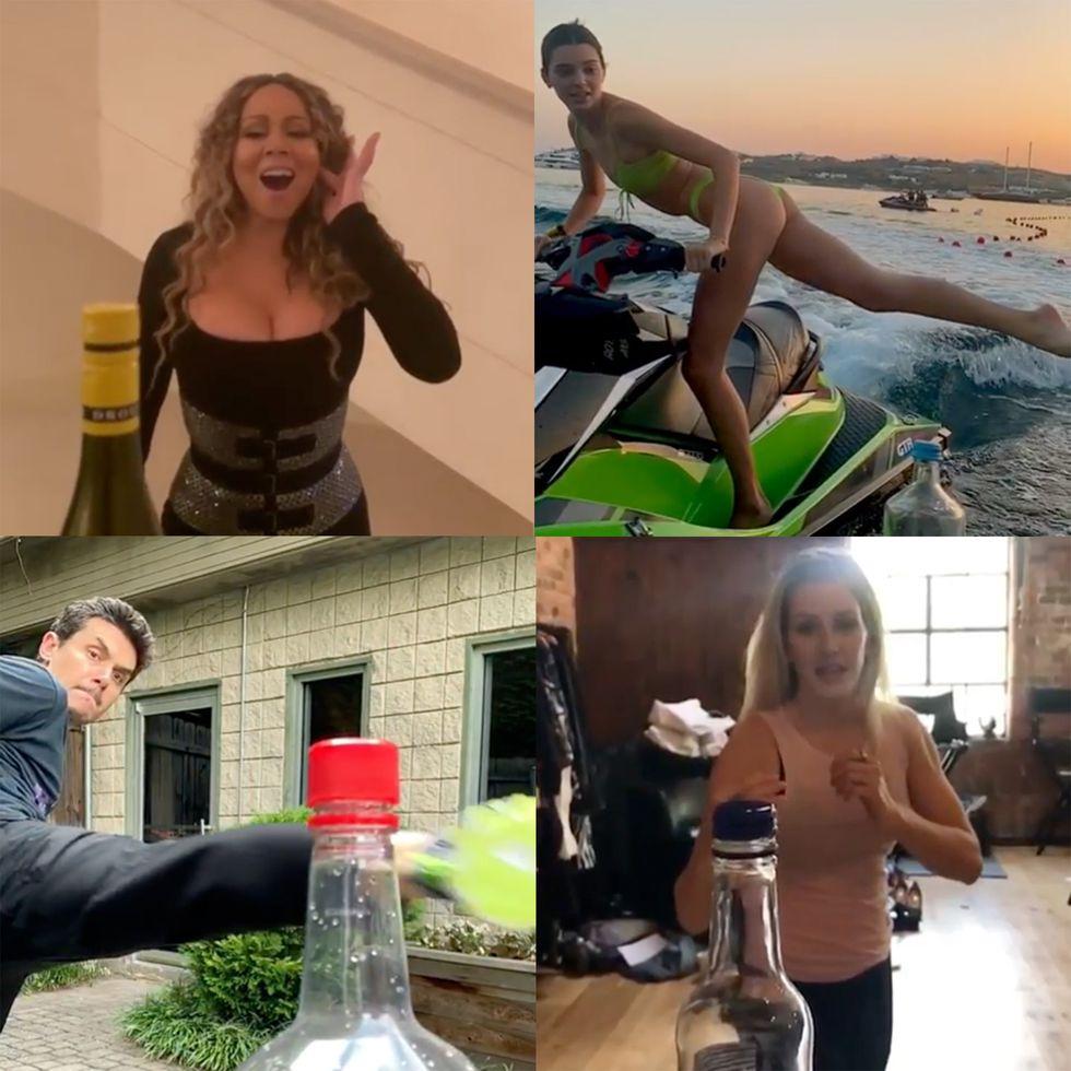 15 Selebriti yang Melakukan Tren Bottle Cap Challenge