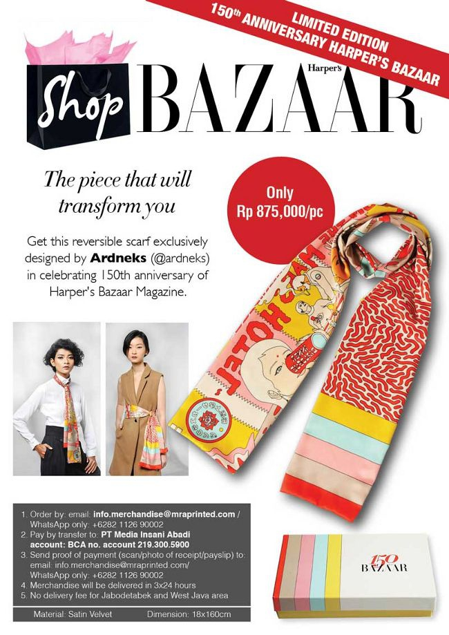 Limited Edition Red Scarf 150th Anniversary Harper's Bazaar