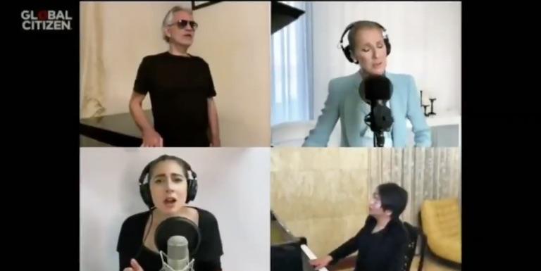 Lady Gaga Bernyanyi Bersama Celine Dion dan Andrea Bocelli