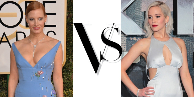 Jennifer Lawrence Vs Jessica Chastain Dalam Fashion