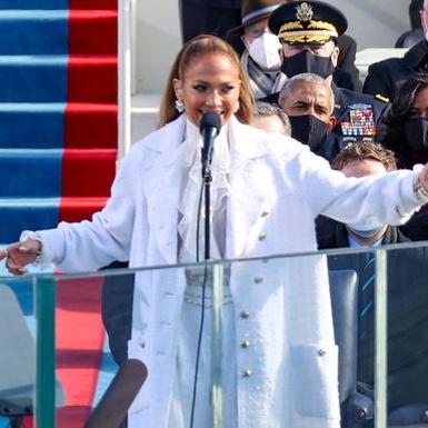 J.Lo Kenakan Busana Chanel Serba Putih saat Tampil di Acara Pelantikan Presiden Terpilih Joe Biden