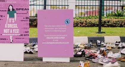 Stop Kekerasan Pada Perempuan, The Body Shop Gelar Kampanye Shoes Art Installation