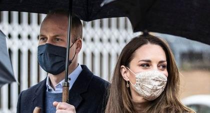 Kate Middleton Tampil Memesona dalam Balutan Tampilan Busana Serba Cokelat dan Masker Berwarna Senada