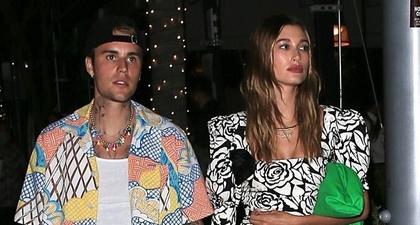 Hailey Bieber Kenakan Gaun Mini Alessandra Rich Floral-Print saat Kencan Malam dengan Justin Bieber