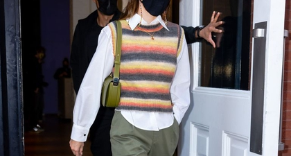 Kendal Jenner Tampil Vintage dengan Rompi Sweter dan Tas Burberry Olympia
