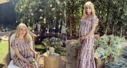 Emma Roberts Merayakan Baby Shower Mengenakan Gaun Tory Burch